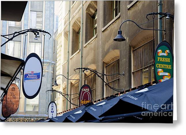 Old-style Signs Above A Melbourne Laneway Greeting Card