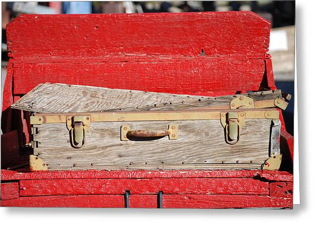 Old Suitcase Greeting Card by Pamela Schreckengost