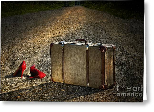 Old Suitcase With Red Shoes Left On Road Greeting Card by Sandra Cunningham