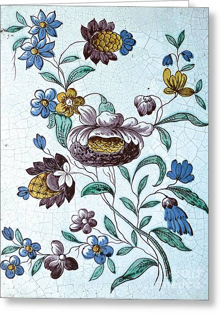 Old Swedish Fireplace Tile Greeting Card