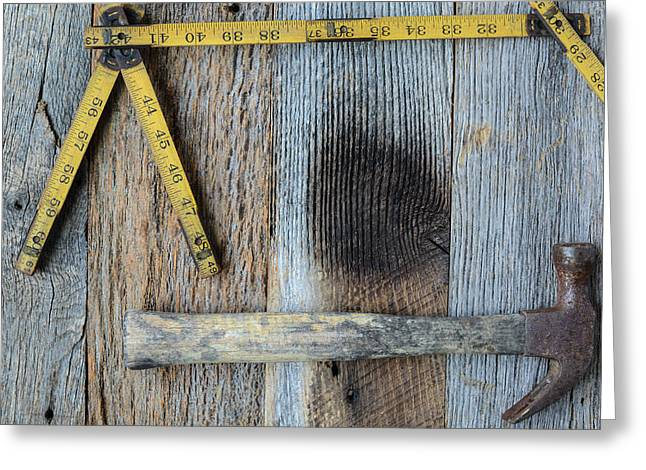 Old Tape Measure And Hammer Greeting Card