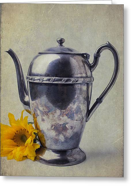 Old Teapot With Sunflower Greeting Card by Garry Gay