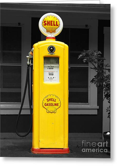 Old Time Gas Pump Greeting Card by David Lawson