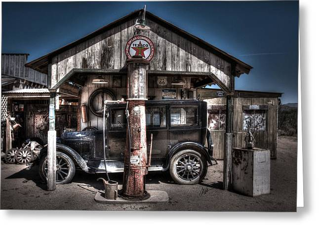 Old Time Gas Station - 1927 Dodge Greeting Card