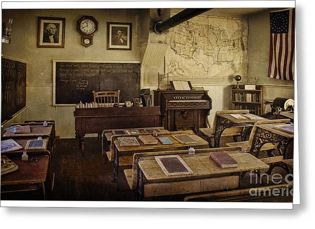 Old Time Learning Greeting Card by Priscilla Burgers