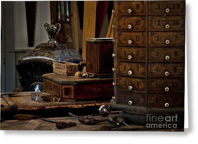 Old Time Woodworking Tools And Bench Greeting Card
