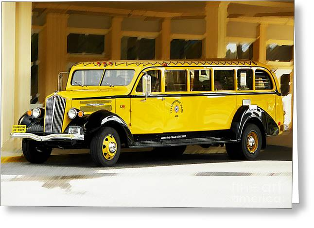 Old Time Yellowstone Bus Greeting Card by David Lawson