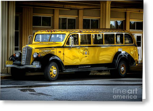 Old Time Yellowstone Bus II Greeting Card by David Lawson