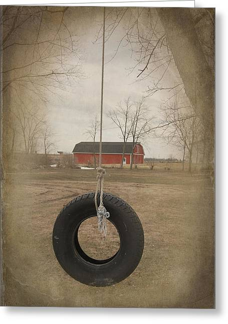 Old Tire Swing Greeting Card by Maria Dryfhout