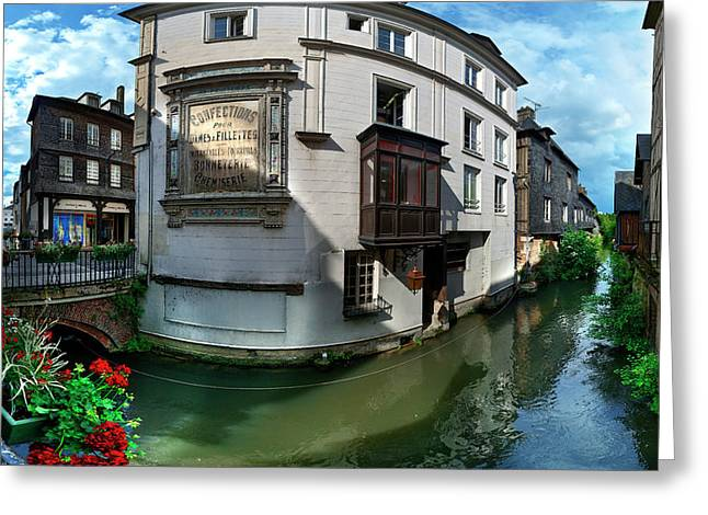 Old Town And Canal, Pont-audemer, Eure Greeting Card by Panoramic Images