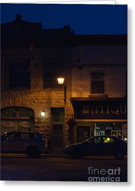 Old Town At Night Greeting Card by Cheryl Baxter
