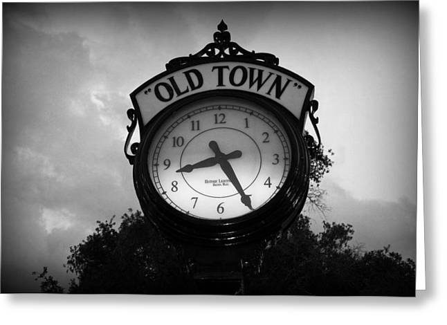 Old Town Clock Greeting Card by Laurie Perry