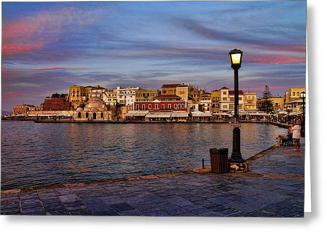 Old Town Harbour In Chania Crete Greeting Card