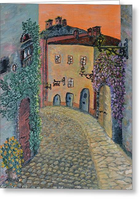 Greeting Card featuring the painting Old Town In Piedmont by Felicia Tica