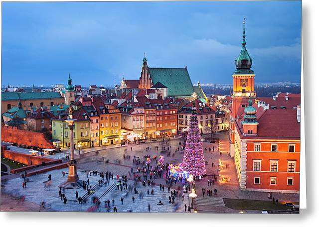 Old Town In Warsaw At Night Greeting Card