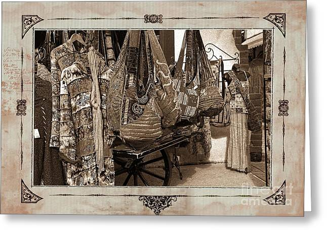Old Town Mexican Clothing Market Sepia Toned Textured With Border  Greeting Card
