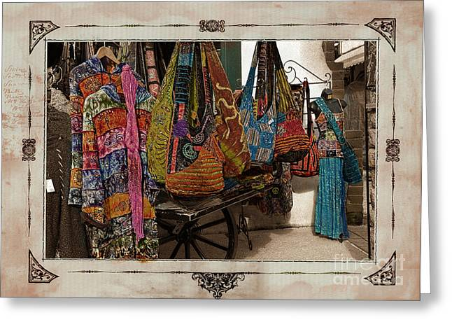 Old Town San Diego Marketplace Clothing Distressed Textured Border Greeting Card