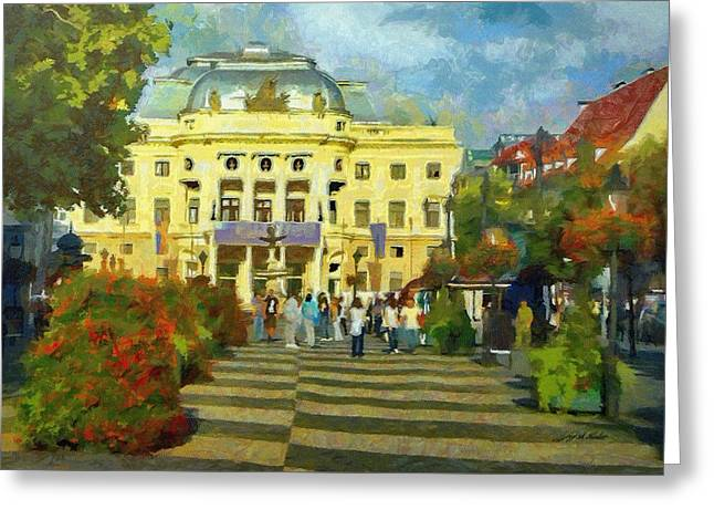 Old Town Square Greeting Card by Jeffrey Kolker