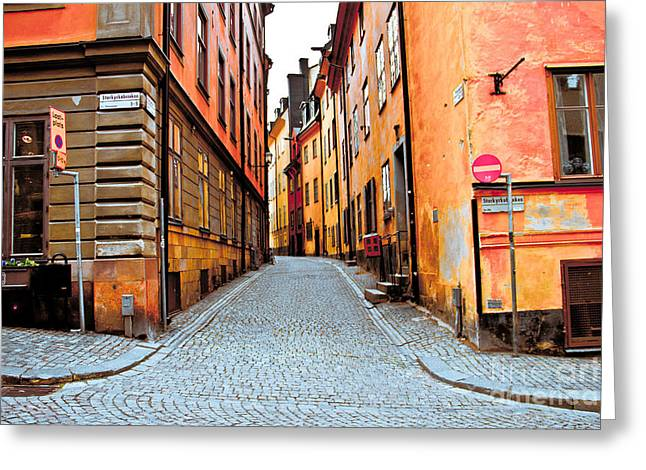 Old Town Streets Greeting Card by Damion Lawrence