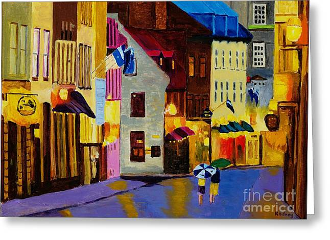 Greeting Card featuring the painting Old Towne Quebec by Rodney Campbell