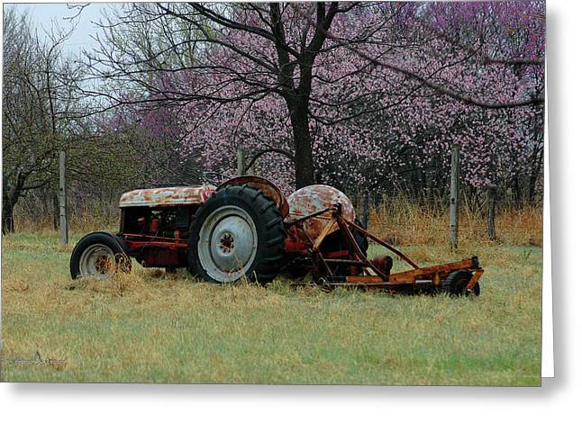 Old Tractor And Redbuds Greeting Card