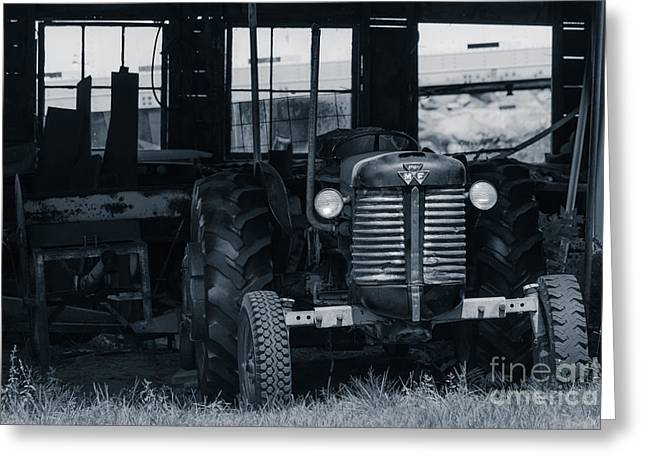 Old Tractor In The Barn Greeting Card by Edward Fielding