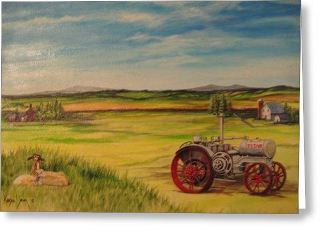 Old Tractor Greeting Card by Kendra Sorum