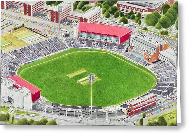 Old Trafford Cricket Stadia Art - Lancashire County Cricket Club Greeting Card