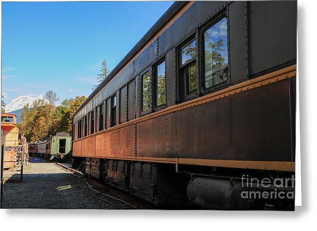Old Train Coach Greeting Card by Malu Couttolenc