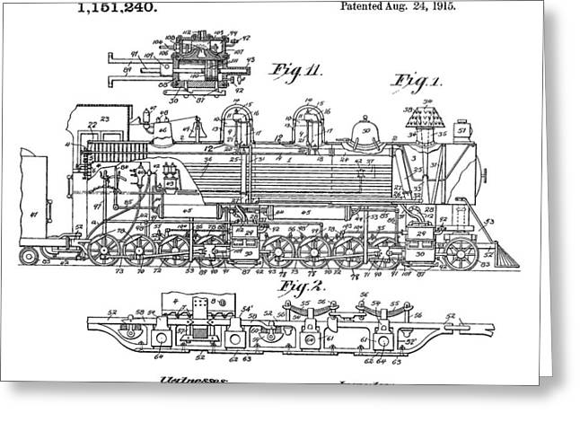 Old Train Patent Greeting Card by Dan Sproul