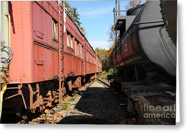 Old Train Wagons At Ease Greeting Card by Malu Couttolenc