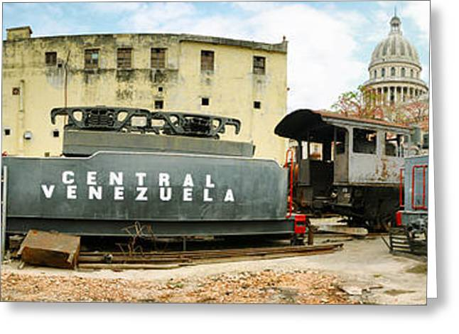 Old Trains Being Restored, Havana, Cuba Greeting Card