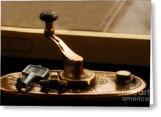 Old Tram Steering Handle Greeting Card
