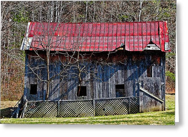 Old Tree Barn Greeting Card by John Haldane