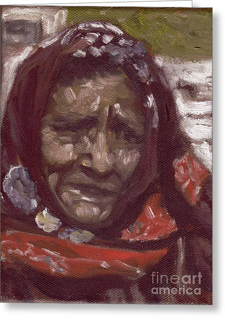 Old Tribal Woman From India Greeting Card by Mukta Gupta