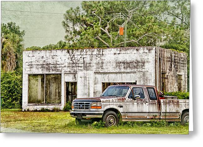 Old Truck And Old Gas Station Greeting Card