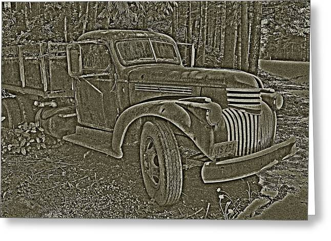 Greeting Card featuring the photograph Old Truck In Sepia by Betty Depee