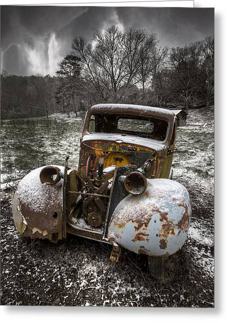 Old Truck In The Smokies Greeting Card by Debra and Dave Vanderlaan