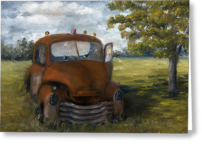 Greeting Card featuring the painting Old Truck Shreveport Louisiana Wrecker by Lenora  De Lude