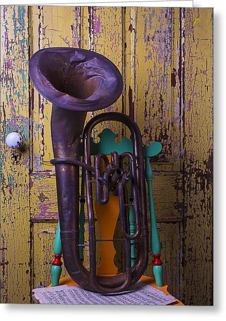 Old Tuba And Yellow Door Greeting Card by Garry Gay