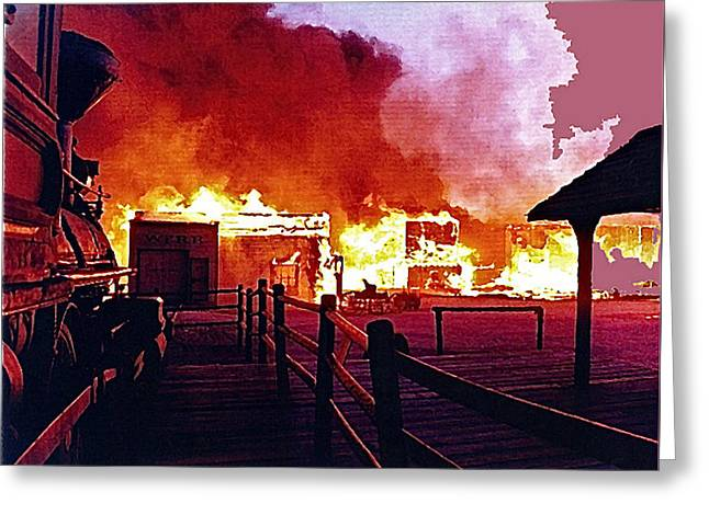 Old Tucson In Flames Greeting Card by David Lee Guss