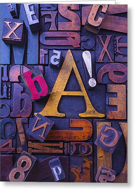 Old Typesetting Fonts Greeting Card by Garry Gay