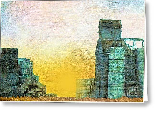 Old Used Grain Elevator Greeting Card by Janette Boyd