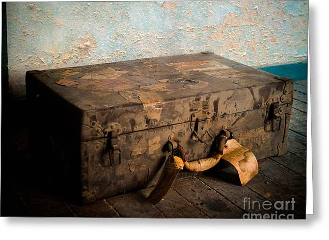 Old Valise Greeting Card by Sonja Quintero
