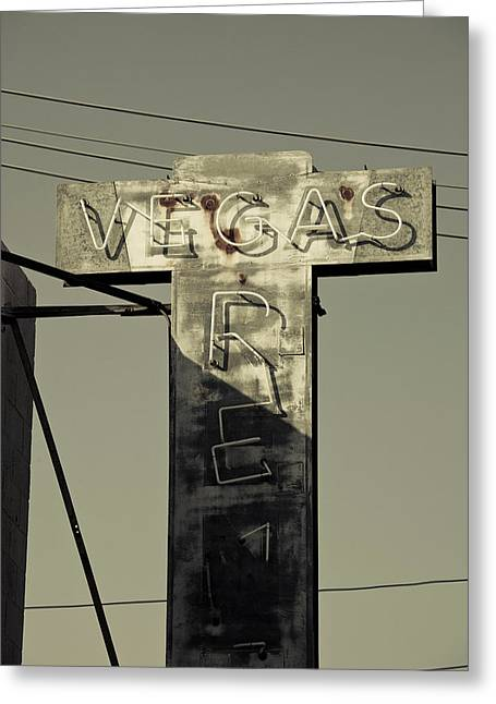 Old Vegas Sign On First Street, Fremont Greeting Card