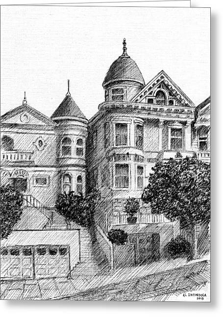 Old Victorian Houses Greeting Card