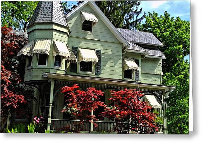 Greeting Card featuring the photograph Old Victorian With Awnings by Becky Lupe