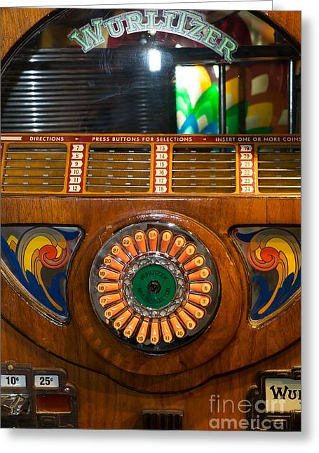 Old Vintage Wurlitzer Jukebox Dsc2823 Greeting Card by Wingsdomain Art and Photography