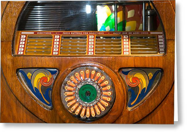 Old Vintage Wurlitzer Jukebox Dsc2824 Square Greeting Card by Wingsdomain Art and Photography