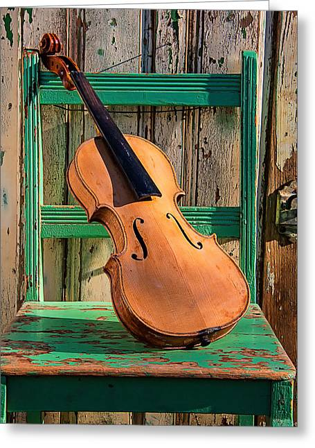 Old Violin On Green Chair Greeting Card by Garry Gay